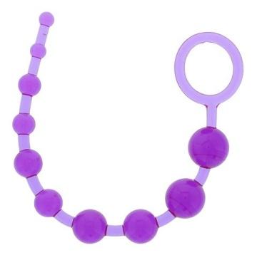 Фиолетовая анальная цепочка PLEASURE BEADS ANAL ROD - 32 см.