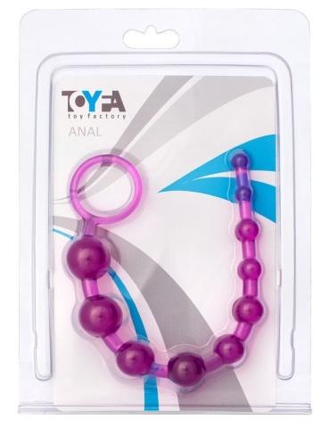 Фиолетовая анальная цепочка с кольцом - 25 см.