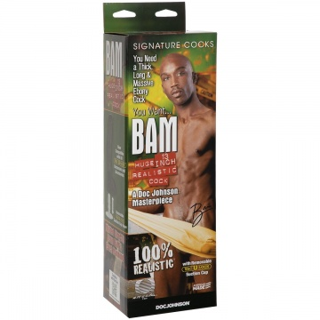 "Коричневый фаллоимитатор BAM Huge 13"" Realistic Cock - 31 см."