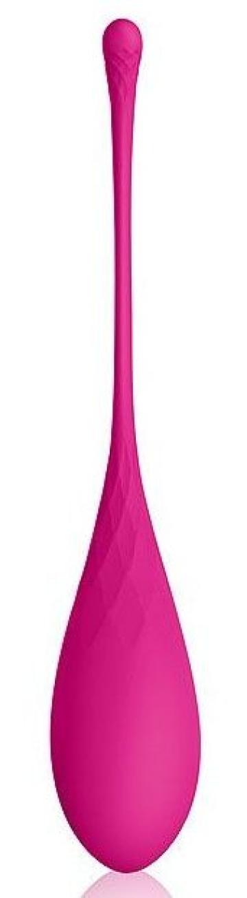 Ярко-розовый тяжелый каплевидный вагинальный шарик со шнурком