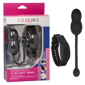 Черные вагинальные виброшарики с браслетом-пультом Wristband Remote Ultra-Soft Kegel System