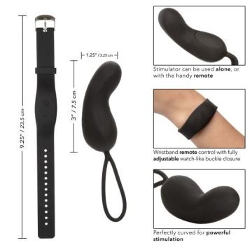 Черное виброяйцо с браслетом-пультом Wristband Remote Curve
