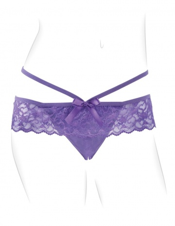 Фиолетовые трусики с вибропулей и пультом Crotchless Panty Thrill-Her