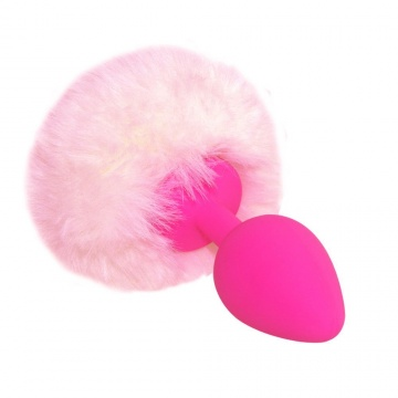 """Розовая анальная пробка с нежно-розовым хвостиком """"Задорный Кролик"""""""