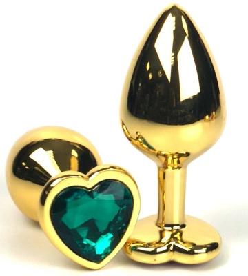 Золотистая анальная пробка с зеленым кристаллом-сердцем - 6,5 см.