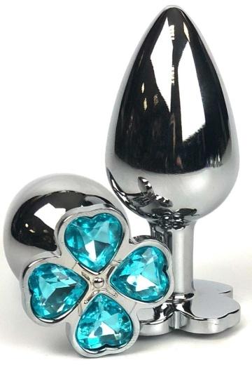 Серебристая анальная втулка с клевером из голубых кристаллов - 8 см.