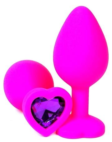Розовая силиконовая пробка с фиолетовым кристаллом-сердцем - 8 см.