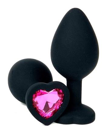 Черная силиконовая пробка с розовым кристаллом-сердцем - 8 см.