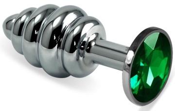 Серебристая ребристая анальная пробка с зеленым стразом - 7,5 см.