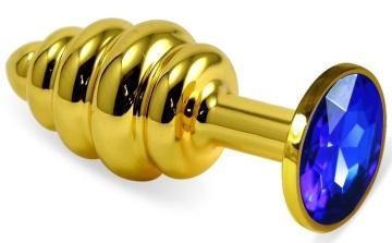 Золотистая ребристая анальная пробка с синим кристаллом - 7,5 см.