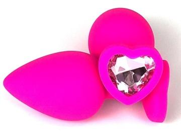 Розовая силиконовая пробка с нежно-розовым кристаллом-сердцем - 8 см.