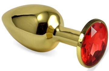 Золотистая анальная пробка с красным кристаллом - 7 см.