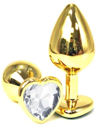 Золотистая анальная пробка с прозрачным кристаллом-сердцем - 7 см.