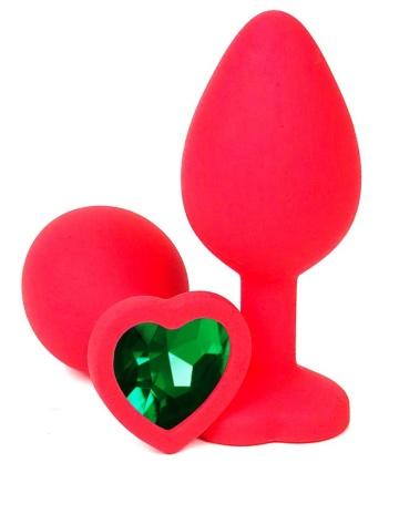 Красная силиконовая анальная пробка с зеленым стразом-сердцем - 8 см.