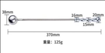 Серебристый металлический стек с закругленным концом - 37 см.