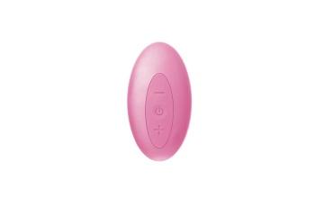 Нежно-розовый безремневой страпон с пультом ДУ - 17,5 см.