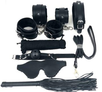Набор БДСМ в черном цвете: наручники, поножи, кляп, ошейник с поводком, маска, веревка, плеть
