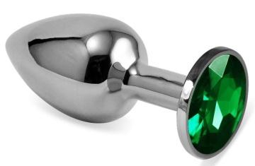 Серебристая гладкая анальная пробка с зеленым кристаллом - 9,5 см.