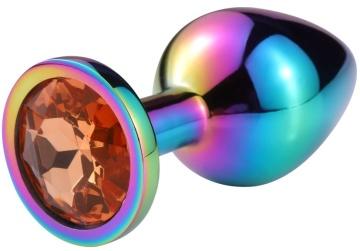 Разноцветная гладкая анальная пробка с красным кристаллом - 6,8 см.