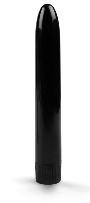 Черный гладкий вибратор - 15,5 см.