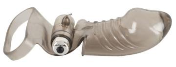 Дымчатая закрытая насадка на пенис с вибропулей - 15 см.