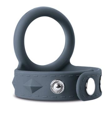 Темно-серое эрекционное кольцо с утяжкой для мошонки - размер L