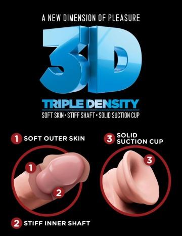 """Телесный фаллоимитатор на присоске 6,5"""" Triple Density Cock - 20,3 см."""