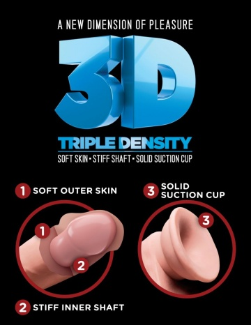 "Телесный фаллоимитатор на присоске 10"" Triple Density Fat Cock with Balls - 27,9 см."