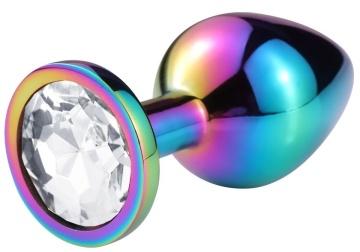 Разноцветная гладкая анальная пробка с прозрачным кристаллом - 7,5 см.