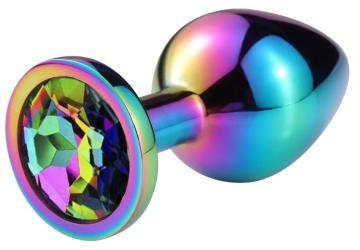 Разноцветная гладкая анальная пробка с радужным кристаллом - 8 см.