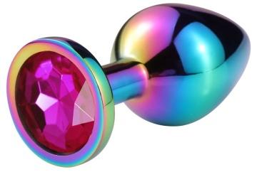 Разноцветная гладкая анальная пробка с розовым кристаллом - 9,5 см.