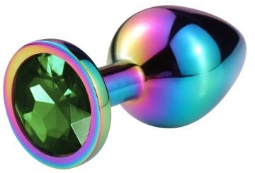 Разноцветная гладкая анальная пробка с зеленым кристаллом - 9,5 см.
