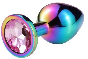 Разноцветная гладкая анальная пробка с нежно-розовым кристаллом - 9,5 см.