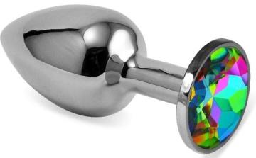 Серебристая гладкая анальная пробка с радужным кристаллом - 6,8 см.