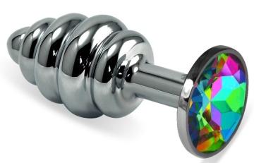 Серебристая ребристая анальная пробка с разноцветным кристаллом - 7 см.