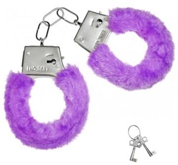 Металлические наручники с фиолетовой меховой опушкой и ключиками
