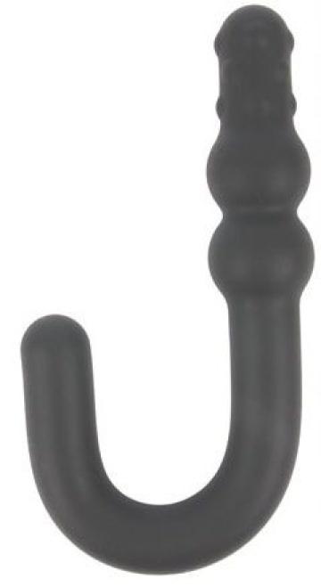 Черный фантазийный анальный стимулятор - 15,5 см.