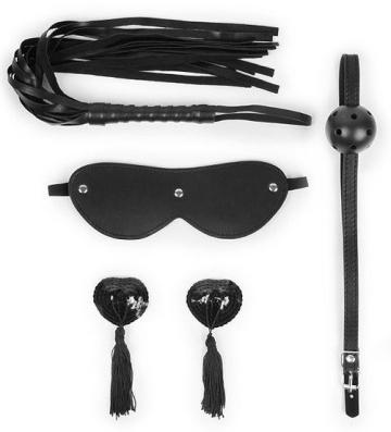 Эротический набор в черном цвете: маска, кляп, пэстисы, плётка