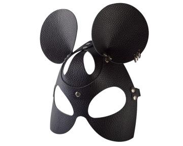 """Черная кожаная маска """"Мышка"""" с тиснением"""