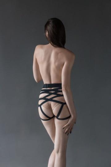 Черные трусики Hotter размера S-M с анальной насадкой - 10,5 см.
