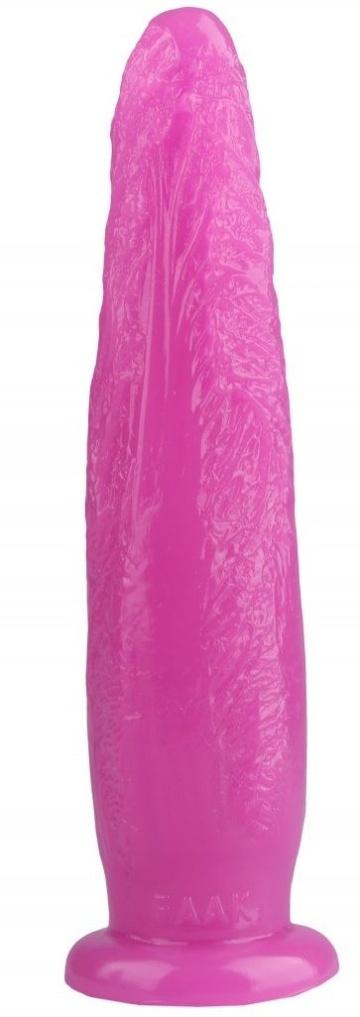 Розовая рельефная анальная втулка - 28 см.