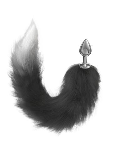 Серебристая анальная пробка с черным хвостом Galaxy