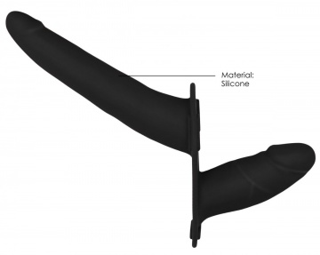 Черный двойной страпон Adjustable на ремешках - 16 см.