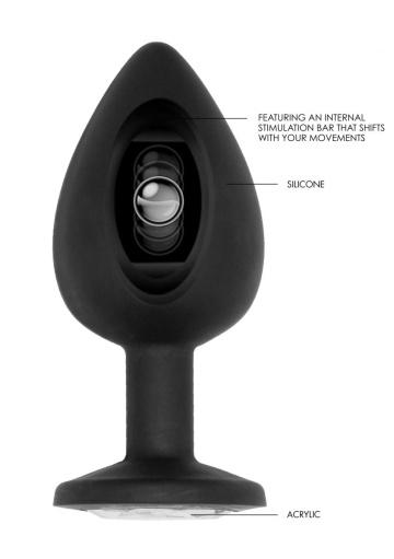 Черная анальная пробка N 91 Self Penetrating Butt Plug - 9,5 см.