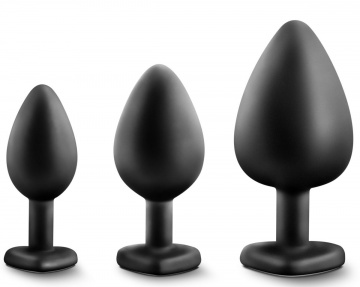 Набор из 3 черных пробок с прозрачным кристаллом-сердечком Bling Plugs Training Kit
