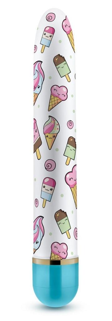 Яркий вибромассажёр с принтом Sweet Cream - 17,8 см.
