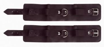 Бордовые наручники с фиксацией на двух карабинах