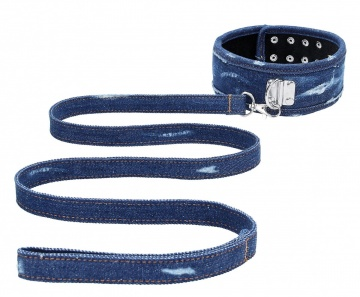Синий джинсовый ошейник With Leash Roughend Denim Style