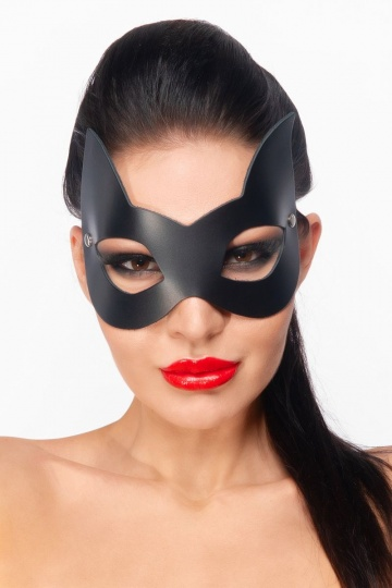 """Черная маска """"Кошечка"""" с ушками"""