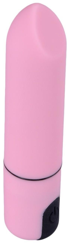 Розовая гладкая коническая вибропуля - 8,5 см.